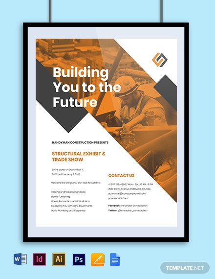 Commercial Construction Marketing Flyer Template template