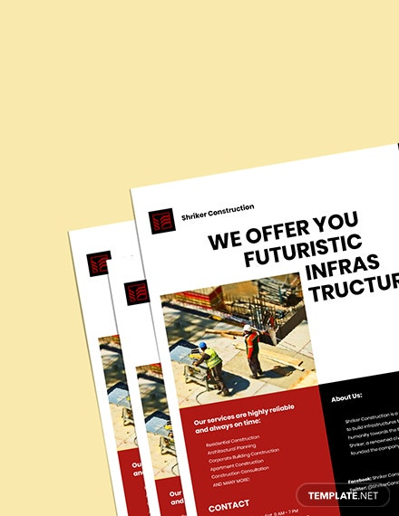 construction firm marketing flyer template printable