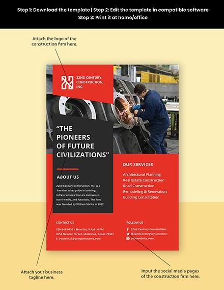 Modern Construction Advertisement Flyer Template Template Format