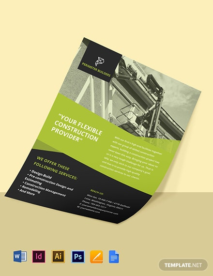Creative Construction Advertisement Flyer Template Template
