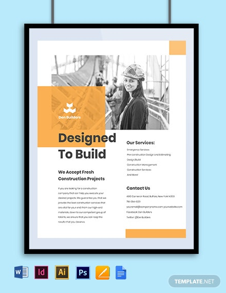 Free Simple Construction Advertisement Flyer Template Template