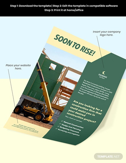 Construction Project Marketing Flyer Editable