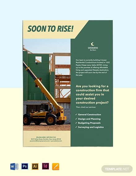 Construction Project Marketing Flyer Template