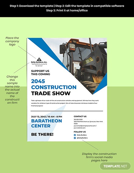 Construction Trade Shows Flyer Template Sample