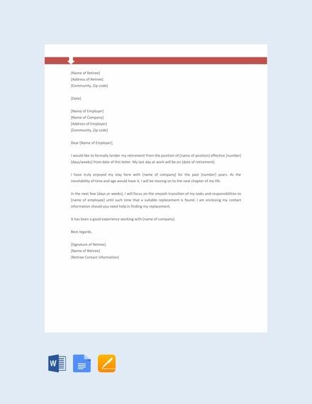 Free Retirement Letter Format