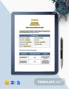 Installation Completion Form Template