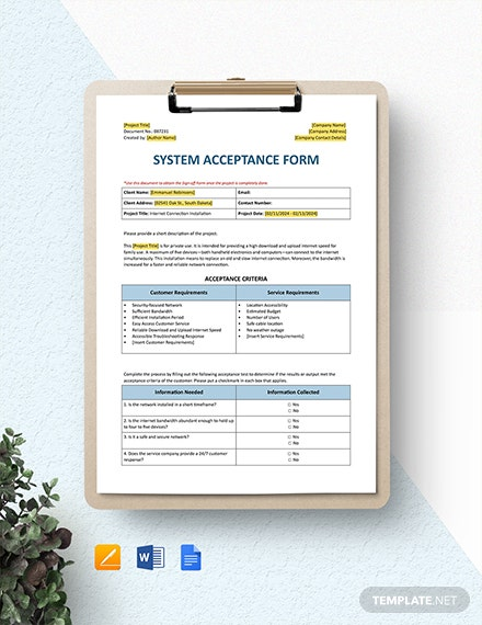 System Acceptance Form Template