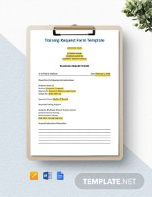 Training Requirements Form Template