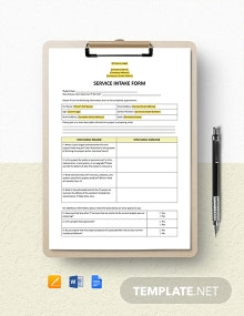 Service Intake Form Template