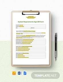 System Requirements Sign-Off Form Template