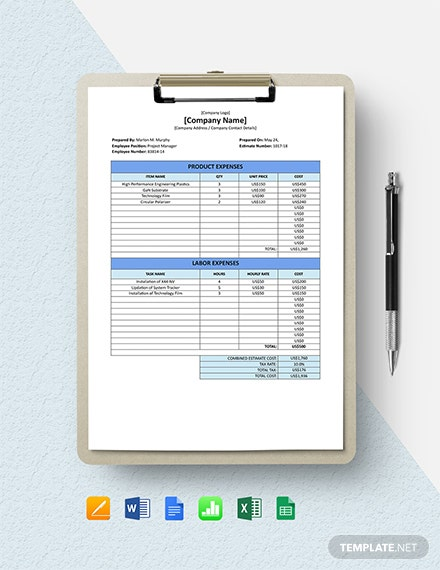 Free Sample IT Company Estimate Template