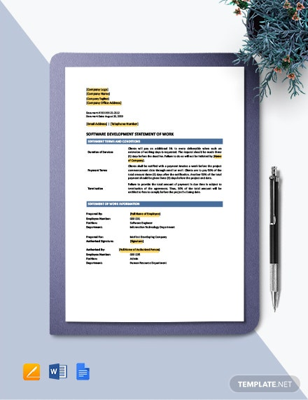 Software Development Statement of Work Template