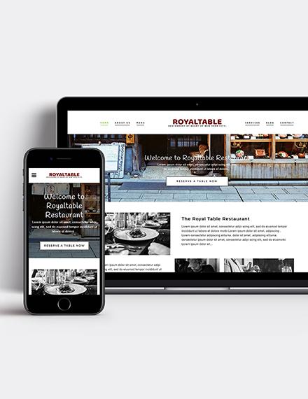 Minimal Restaurant WordPress Theme Template