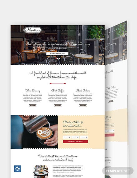 Cafe & Restaurant WordPress Theme/Template