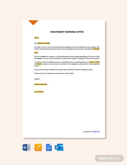 Free Disciplinary Warning Letter Template