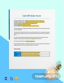 Call Off Order Form (Software Support & Maintenance) Template