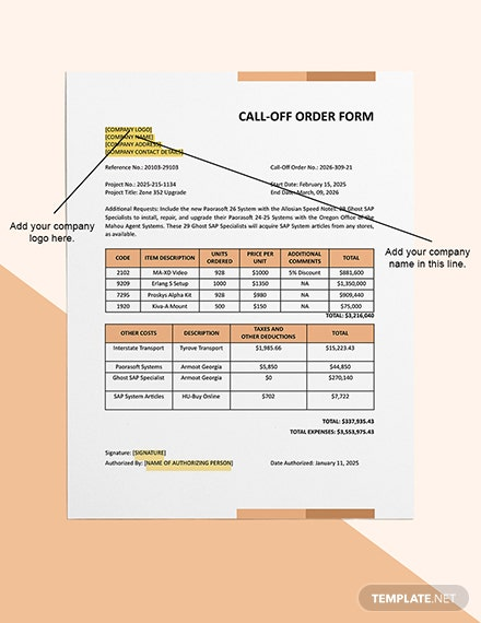 Call Off Order Form Editable