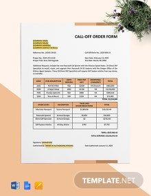Call Off Order Form (Software Development & Licensing) Template
