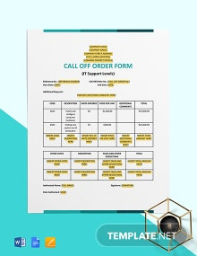 Call Off Order Form (IT Support Levels) Template