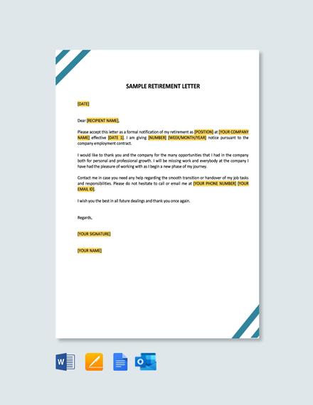 Free Sample Retirement Letter Template