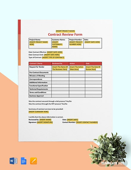 Contract Review Form Template