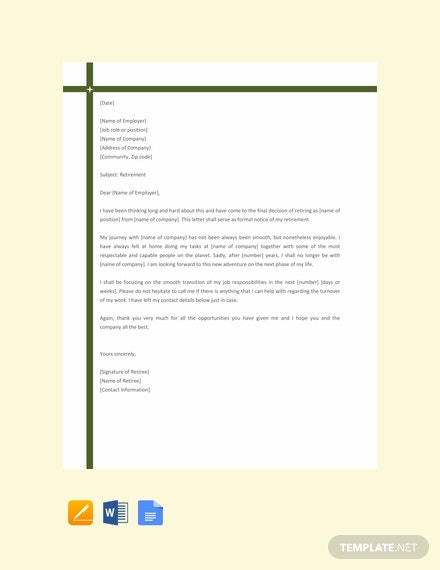 Free-Simple-Retirement-Letter-Template-440x570-1 Simple Retirement Letter To Employer Template on retirement letter template word, retirement resignation letter, retirement letter to boss, retirement messages to boss, teacher retirement letter template, retirement acceptance letter, retirement notification letter sample, retirement notification template, retirement letter format samples, formal retirement letter template, retirement letter of thanks,