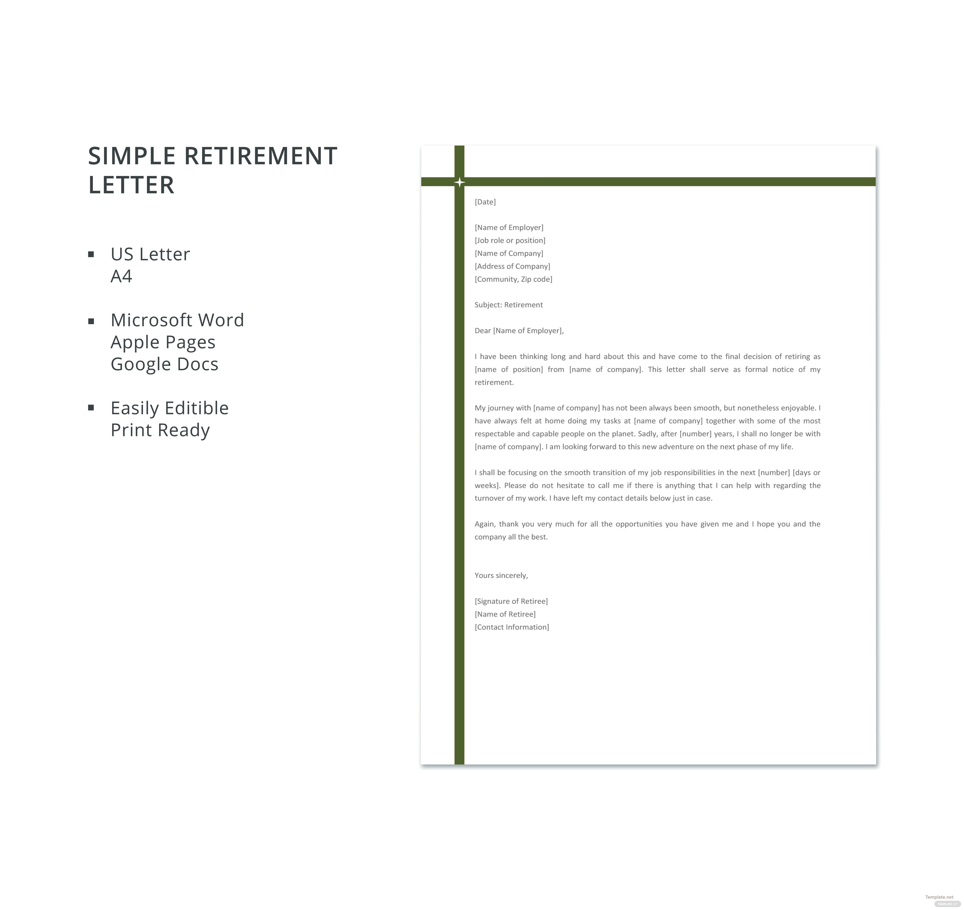Simple retirement letter template in microsoft word apple pages simple retirement letter template spiritdancerdesigns Choice Image