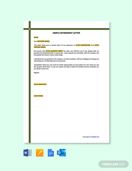 Free Simple Retirement Letter Template