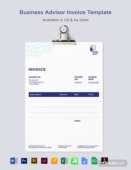 Business Advisor Invoice Template