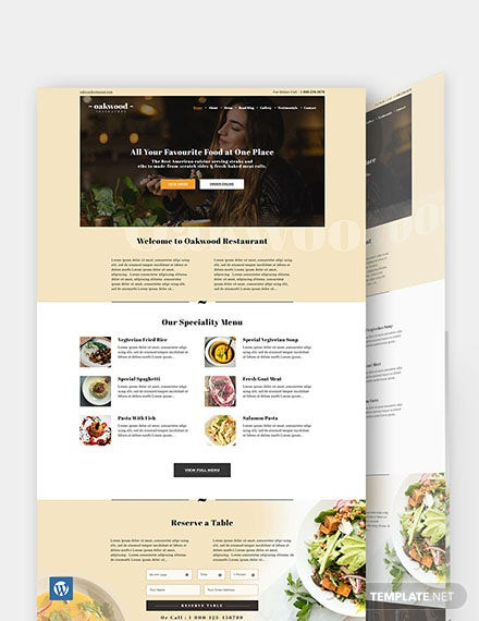 Restaurant & Cafe WordPress Theme/Template