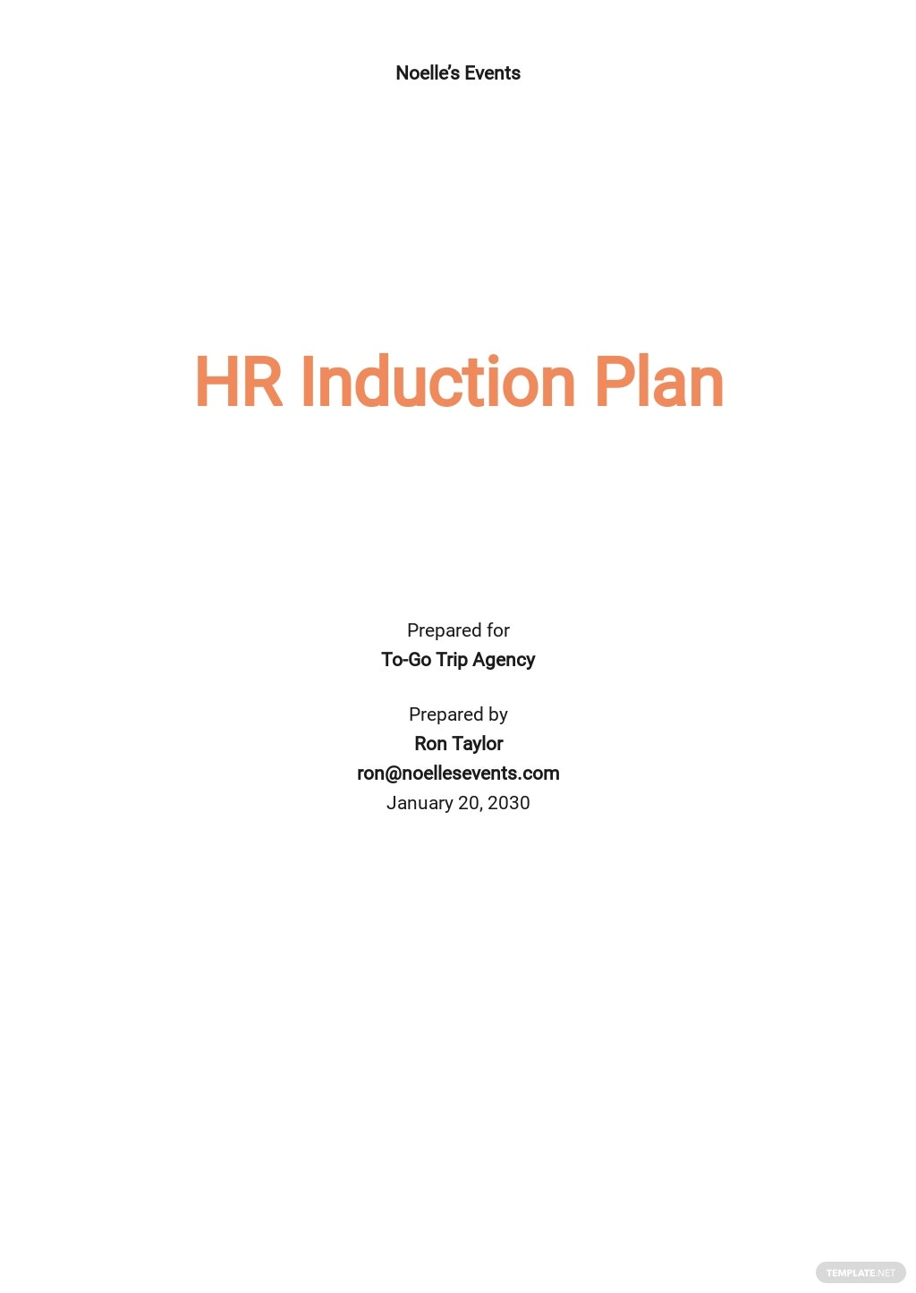 HR Induction Plan Template