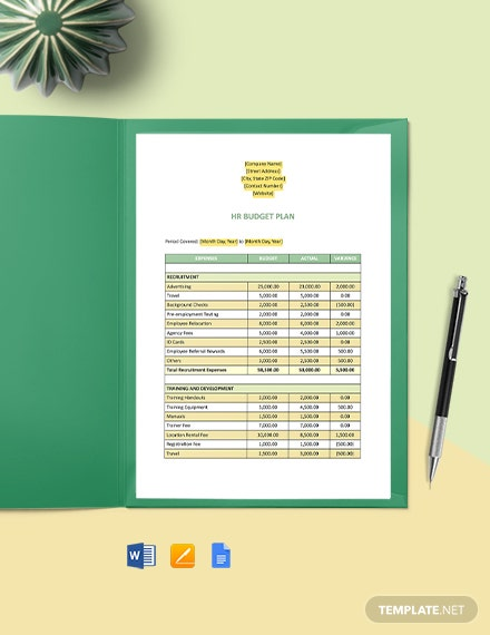 HR Budget Plan Template