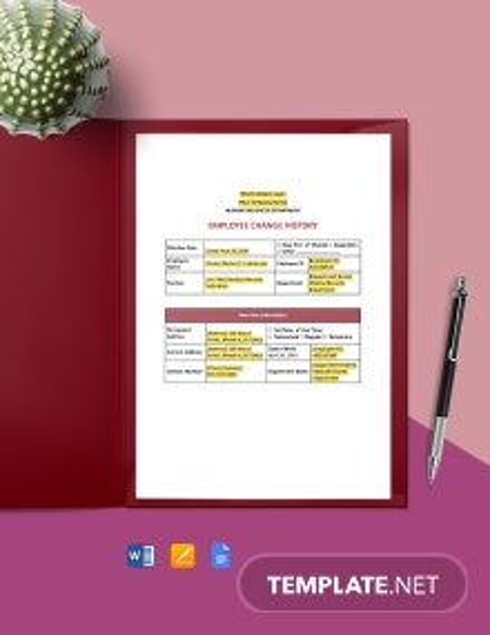 Employee Status Change Report Template