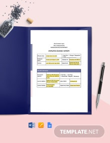 Employee Change History Report Template