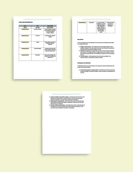 Human Resource Planning format