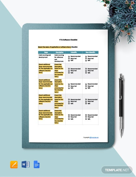 Free Blank IT & Software Checklist Template
