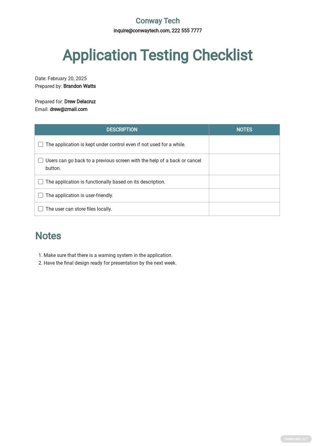 Application Testing Checklist Template