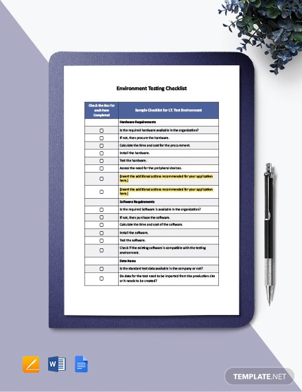 Environment Testing Checklist Template