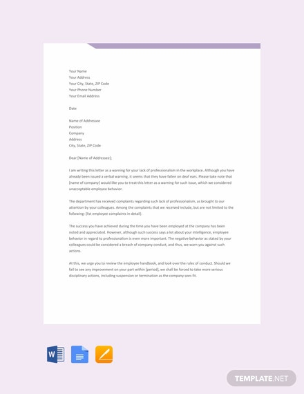 Free Professional Warning Letter Template
