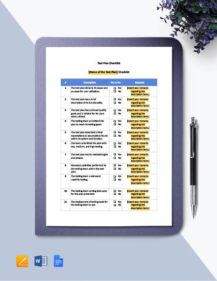 Test Plan Checklist Template