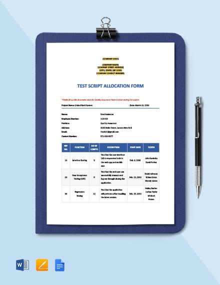 Test Script Allocation Form Template