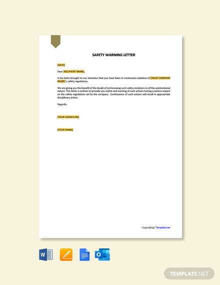 Free Safety Warning Letter Template
