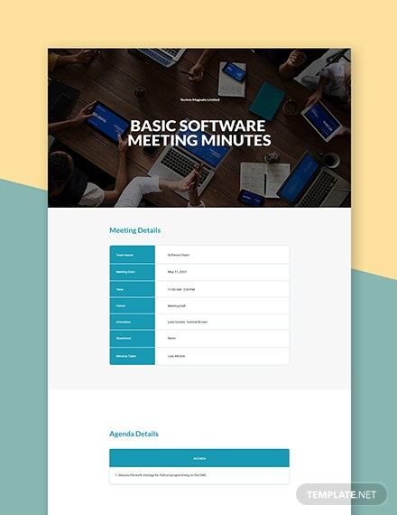 Free Basic Software Meeting Minutes Template
