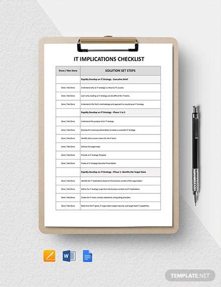IT Implications Checklist Template