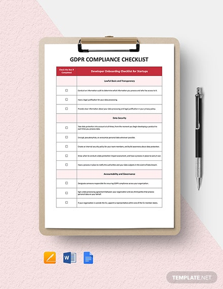 GDPR Compliance Checklist Template