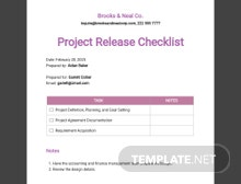 Project Release Checklist Template