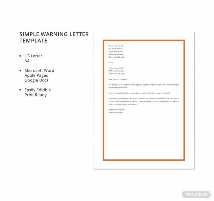 simple warning letter template 740x698