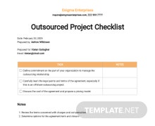 Outsourced Project Checklist Template