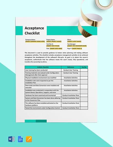 Acceptance Checklist Template