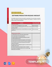 Software Production Release Checklist Template